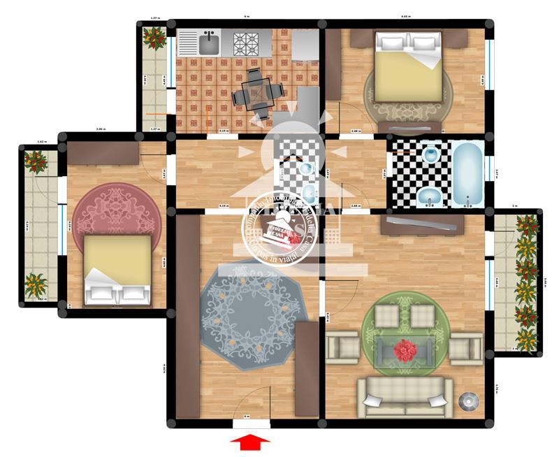 Apartament 3 camere  de vanzare  Tigarete,