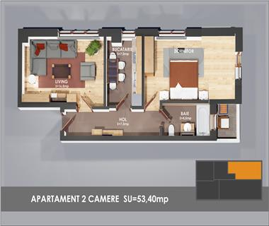 Apartament Nou 2 camere  de vanzare  Bularga Baza III,